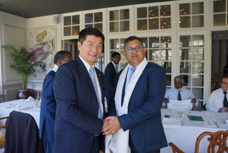 CTA President Dr Lobsang Sangay with Narend Singh, MP and Chief Whip of Inkatha Freedom Party, during CTA president's visit to South Africa. Photo: CTA/DIIR