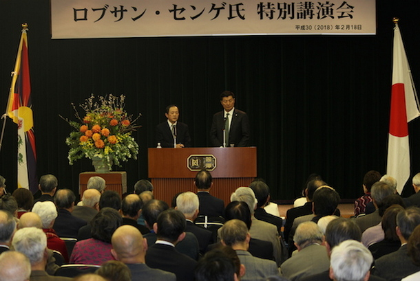 CTA President Dr Lobsang Sangay during his visit to Reitaku University in Japan to deliver a talk on 'Tibet's Tragedy and Future' on 18 February 2018. Photo: OOT Japan