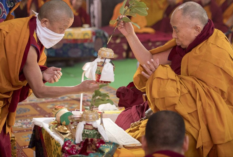 His Holiness the Dalai Lama conducting preliminary procedures for an empowerment in Bodhgaya, Bihar State of India on January 23, 2018. Photo: Lobsang Tsering