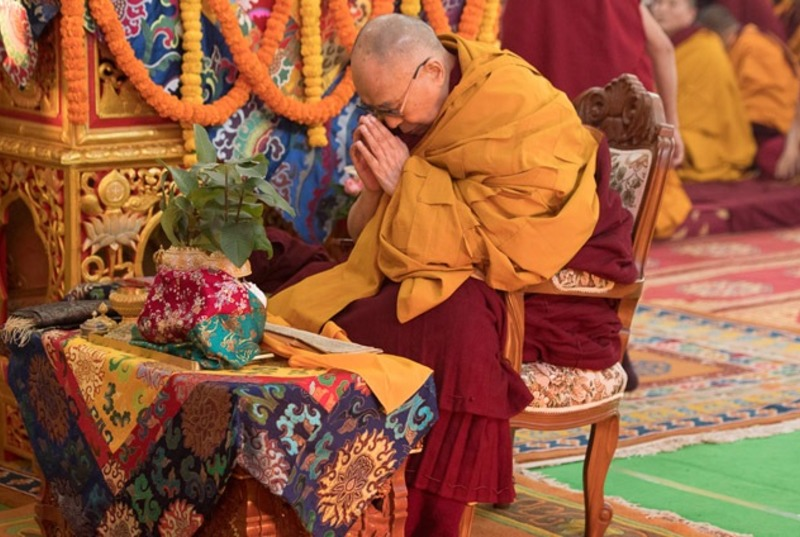 His Holiness the Dalai Lama performing preliminary procedures to prepare himself to grant an Avalokiteshvara empowerment on the second day of his teachings in Bodhgaya, India on January 15, 2018. Photo: OHHDL