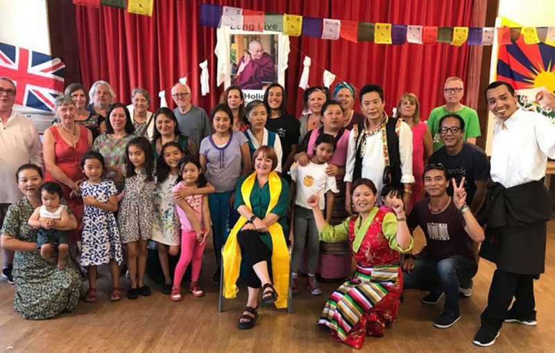 Tibetans with Labour Party's Hon Kerry McCarthy MP, Member for Bristol East during the celebration of His Holiness the Dalai Lama's 83rd birthday, 6 July 2018. Photo/OOT London