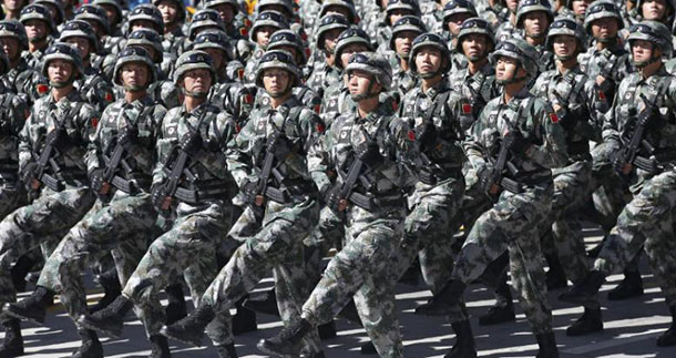The Chinese People's Liberation Army march at the square of the Potala Palace in Lhasa, capital of Tibet, September 8, 2015. Photo: File