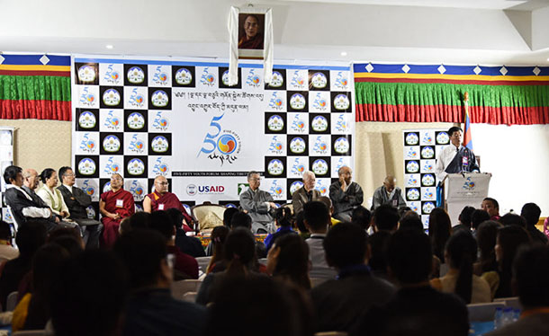 President Dr Lobsang Sangay speaking at the inaugural ceremony of the four-day Five Fifty Youth Forum began at the Imperial Heights in Dharamshala, India on August 17, 2018 . Photo: Tenzin Phende/DIIR