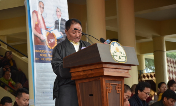 Speaker Pema Jungney delivering the statement of the Tibetan Parliament in Exile on the 29th anniversary of conferment of the Nobel Peace Prize on His Holiness the Dalai Lama, 10 December 2018. TPI/Tenzin Dhargyal