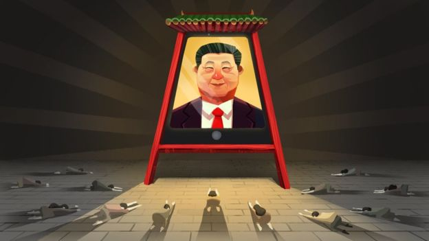 As the censors shut down dissent, the party is urging a way of thinking about all that's good in China and tracing it back to a single source - Xi Jinping. Photo: BBC News