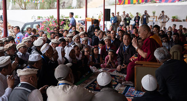 His Holiness the Dalai Lama speaking to members of the Muslim communities of Turtuk, Bogdang and Nubra in Diskit, Nubra Valley, J&K, India on July 13, 2018. Photo by Tenzin Choejor