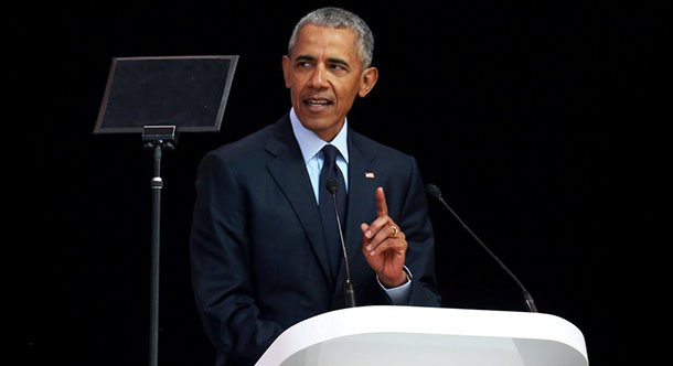 Former President Obama speaking in Johannesburg, SA, at an event honoring Nelson Mandela, July 17, 2018. Photo: Reuters
