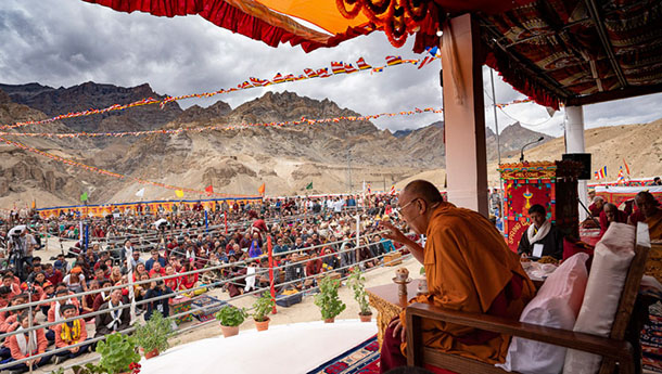 His Holiness the Dalai Lama speaking to students, staff, and members of the public at Spring Dales Public School in Mulbekh, Ladakh, J&K, India on July 26, 2018. Photo by Tenzin Choejor
