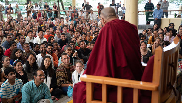 His Holiness the Dalai Lama answering a question from an 8 year old girl during his meeting with visitors from India and abroad at the Main Tibetan Temple courtyard in Dharamsala, HP, India on June 9, 2018. Photo by Tenzin Choejor