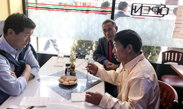 President Dr Lobsang Sangay and Representative Ngodup Tsering with Dhondup Wangchen in New York City, US, on June 17, 2018. Photo: Sikyong's office
