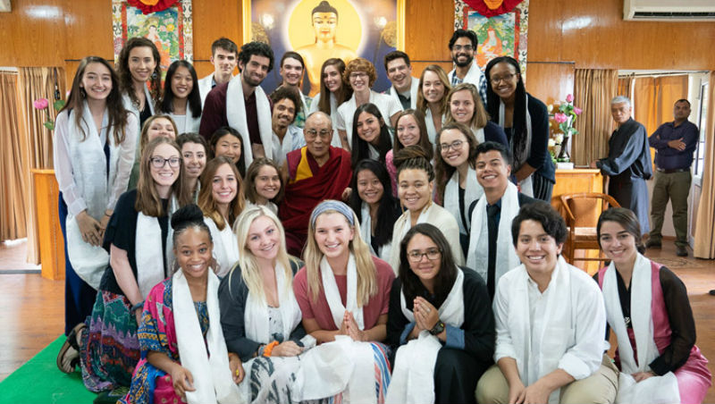 His Holiness the Dalai Lama posing for one of several group photos at the conclusion of his meeting with students and teachers at his residence in Dharamsala, HP, India on June 1, 2018. Photo by Tenzin Choejor