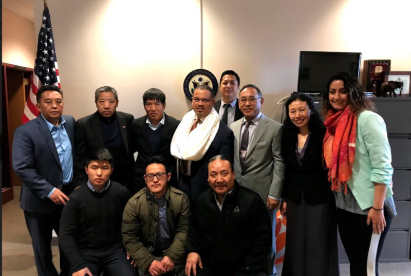 photo caption: Former political prisoner Dhondup Wangchen and OOT representative Ngodup Tsering meet US congressman Keith Ellison on March 23, 2018. Photo: OOT