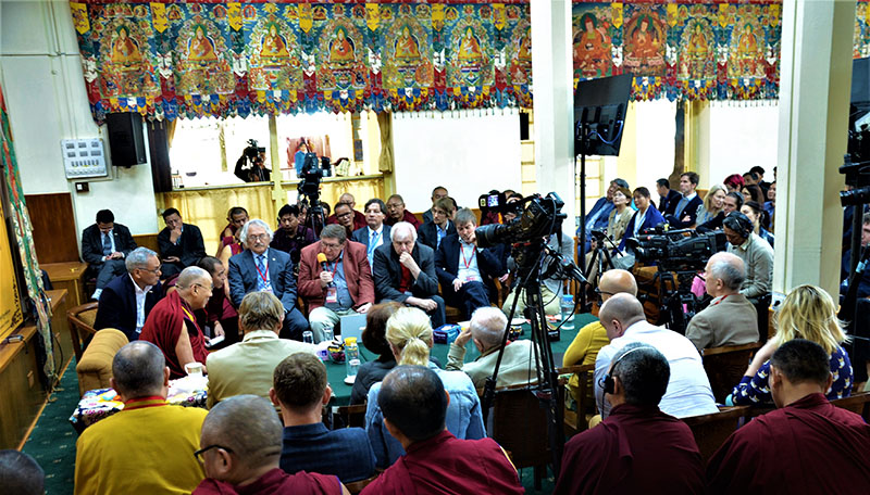 His Holiness the Dalai Lama addressing the Dialogue Between Russian and Buddhist Scholars in Dharamsala, HP, India on May 3, 2018. Photo: TPI/Yeshe Choesang