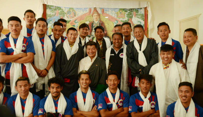 Tibet National Team with President Dr Lobsang Sangay at the press conference in Dharamshala, India, on 18 May 2018. Photo: TPI/Jamyang Dorjee