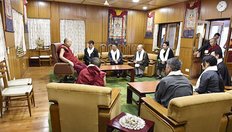 His Holiness the Dalai Lama with members of the 15th Cabinet (Kashag) of the Central Tibetan Administration led by President Dr Lobsang Sangay in Dharamshala, India, May 4, 2018. Photo: OHHDL