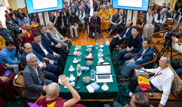 His Holiness delivers his opening remarks on the first day of the dialogue with Chinese scientists about quantum effects in Dharamsala, HP, India on November 1, 2018. Photo by Ven Tenzin Jamphel