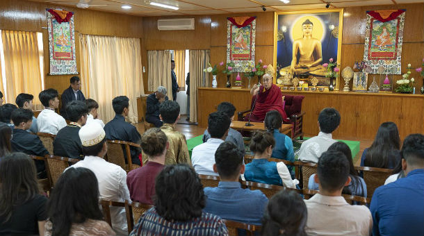 His Holiness the Dalai Lama addressing students from Woodstock International School at his residence in Dharamsala, HP, India on October 11, 2018. OHHDL