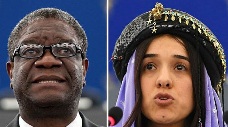 "His Holiness the Dalai Lama hailed the award of the 2018 Nobel Peace Prize to Nadia Murad and to Denis Mukwege for their work against ""sexual violence as a weapon of war and armed conflict."" Photo: File"