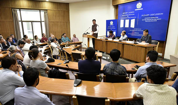 President Dr Lobsang Sangay delivering the opening address at the Report Launch held in New Delhi on October 29, 2018. Photo/Tenzin Phende/DIIR