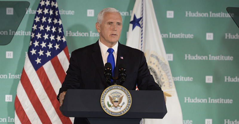Vice President Mike Pence delivering his remarks on the Administration's Policy Towards China at Hudson Institute, Washington, D.C., USA, on October 4, 2018. Photo: Hudson Institute