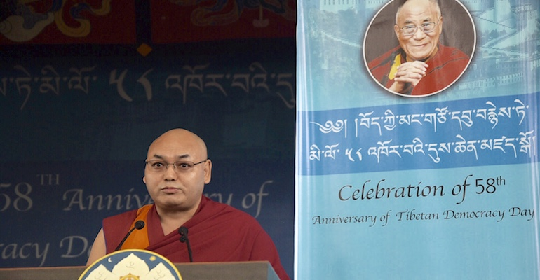 To celebrate 58th Tibetan Democracy Day, Speaker Sonam Tenphel addressing the crowd gathered at the main Temple in Dharamshala, India, on September 2, 2018. Photo: TPI/Yangchen Dolma
