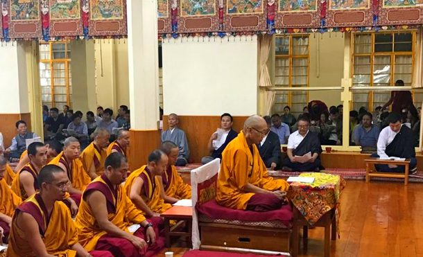 President Dr Lobsang Sangay, Kalons or Ministers and parliamentarians, Secretaries and monks during the prayer service held at the Tibetan temple in Dharamshala, India, on August 8, 2-019. Photo: DIIR/CTA