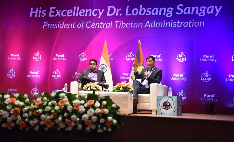 President of Central Tibetan Administration Dr Lobsang Sangay at Parul Univeristy in Vadodara, Gujarat, India, on August 7, 2019. Photo: Tenzin Jigme/CTA