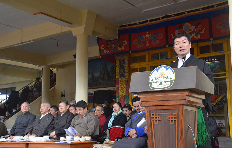 President Dr Lobsang Sangay delivering the Statement of the Kashag on the 30th Anniversary of the Conferment of the Nobel Peace Prize on His Holiness the Great 14th Dalai Lama of Tibet, in Dharamshala, India, on December 10, 2019. Photo: TPI/Yangchen Dolma