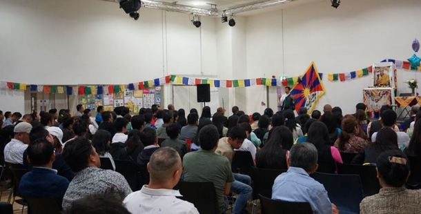 President Dr Lobsang Sangay speaking to the Tibetan community in Britain at Stratford, London, June 22, 2019. Photo: Office of Tibet, London