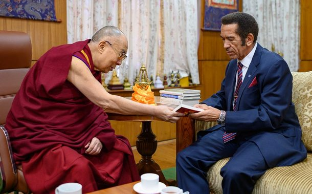 His Holiness presenting former President of Botswana Ian Khama with one of his books during their meeting at his residence in Dharamshala, HP, India on March 10, 2019. Photo by Tenzin Choejor