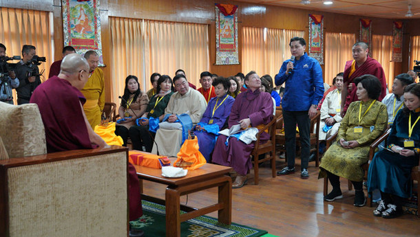 His Holiness the Dalai Lama during the meeting with young professionals from Mongolia at his residence in Dharamshala, HP, India, on March 25, 2019. Photo: Tenzin Choejor