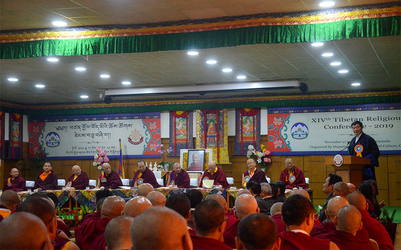President Dr Lobsang Sangay addressing the inaugural ceremony of the 14th Tibetan Religious Conference convened at the CTA headquarters in Dharamshala, India, November 27, 2019. Photo: TPI/Yangchen Dolma