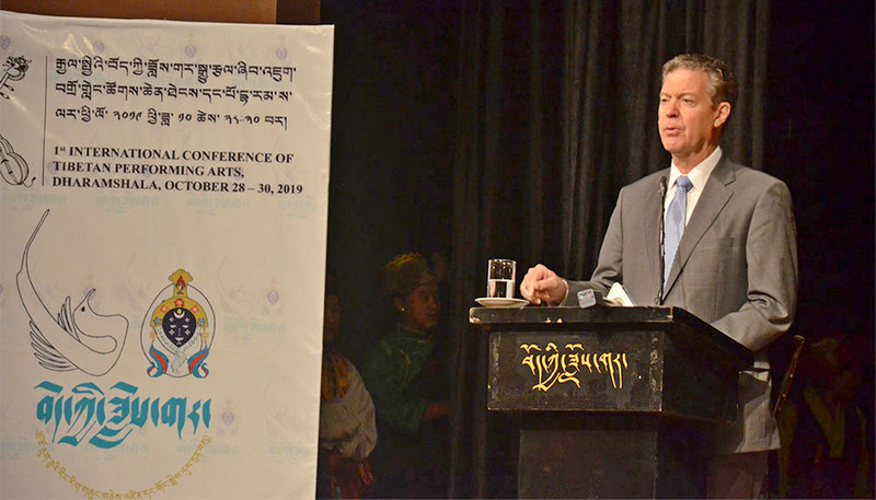 US Ambassador at large for International Religious Freedom, Samuel D Brownback delivers the inaugural address at the first-ever International Conference on Tibetan Performing Arts at TIPA, Dharamshala, October 28, 2019. Photo: TPI/Yangchen Dolma