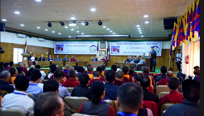President Dr Lobsang Sangay, addressing the closing ceremony of the '3rd Special General Meeting' of Tibetans at the CTA headquarters, Dharamshala, 5 October 2019. Photo: TPI/Yangchen Dolma