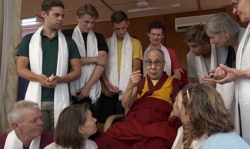 His Holiness the Dalai Lama speaking to a group from Denmark, at his residence in Dharamshala, HP, India, on September 11, 2019. Photo: TPI
