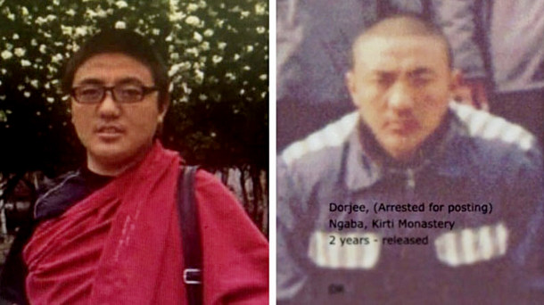 Lobsang Dorjee, a monk from Kirti Monastery in eastern Tibet who was recently given a 3-year jail sentence by the Chinese communist-totalitarian regime. Photo: TPI