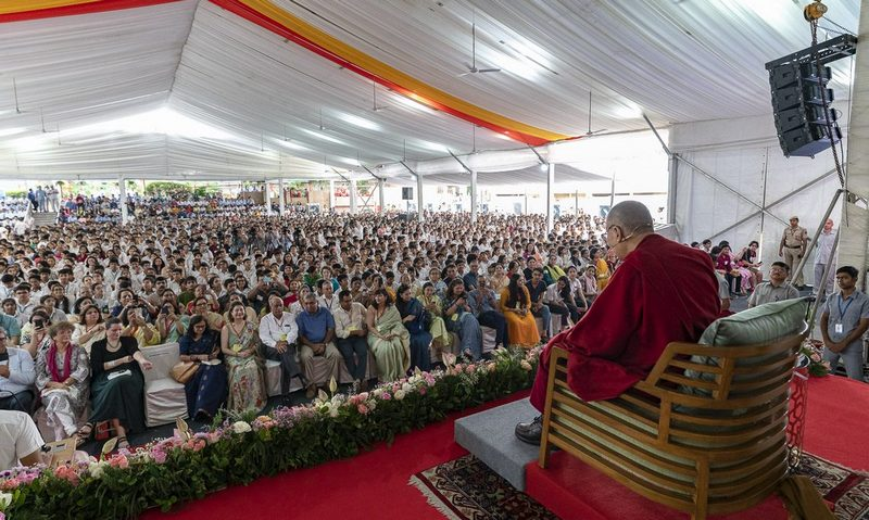 The crowd of more than 2400 students and teachers from 84 schools attending His Holiness the Dalai Lama's talk hosted by SPIC MACAY at Shri Ram School in, New Delhi, India on September 20, 2019. Photo by Tenzin Choejor