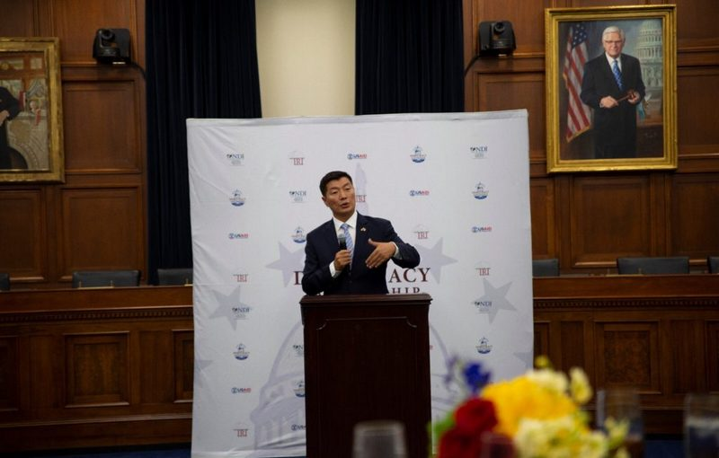 President Dr Lobsang Sangay speaking the reception hosted at the Rayburn House by the House Democratic Partnership.  Photo: OOT