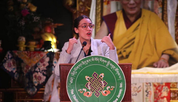 Rep. Alexandria Ocasio-Cortez (D-NY) addressing a Tibetan New Year gathering event in New York, on February 9, 2019. Photo: file