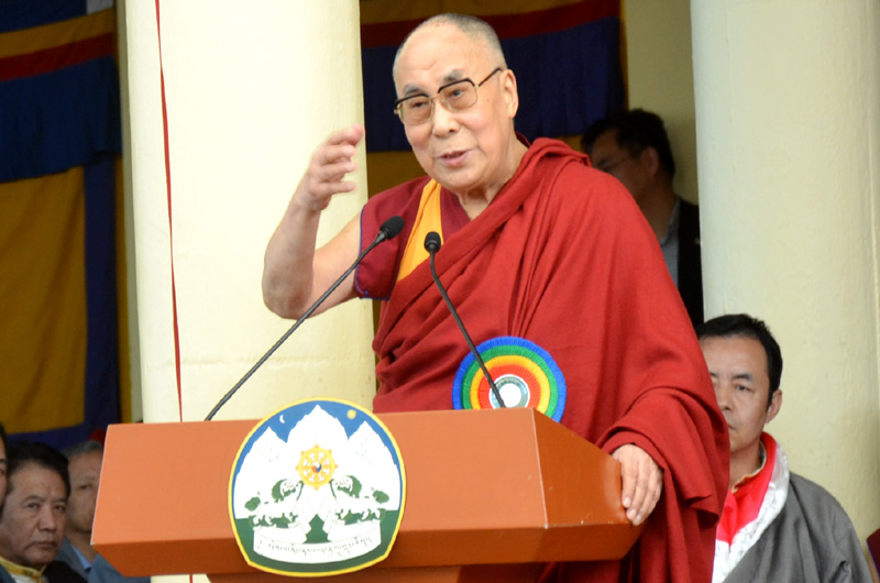 His Holiness the Dalai Lama addressing at the main Tibetan temple in Dharamshala, India, May 27, 2016. Photo: TPI/Yeshe Choesang