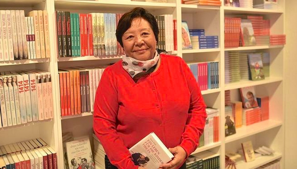 Tendol Gyalzur at the launch of the book in Switzerland about her life and achievements in Tibet. Photo: TPI/Morris Tennyson