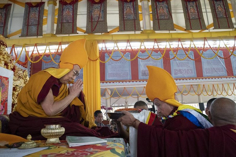 Ganden Tri Rinpoche, Jetsun Lobsang Tenzin presenting traditional offerings during the Long Life Ceremony for His Holiness the Dalai Lama in Bodhgaya, Bihar, India on December 31, 2018.
