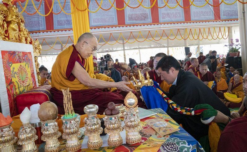President of the Central Tibetan Administration Dr Lobsang Sangay presenting traditional mandala offerings to His Holiness the Dalai Lama during the Long Life Ceremony at the Kalachakra Ground in Bodhgaya, Bihar, India on December 31, 2018. Photo by Lobsang Tsering