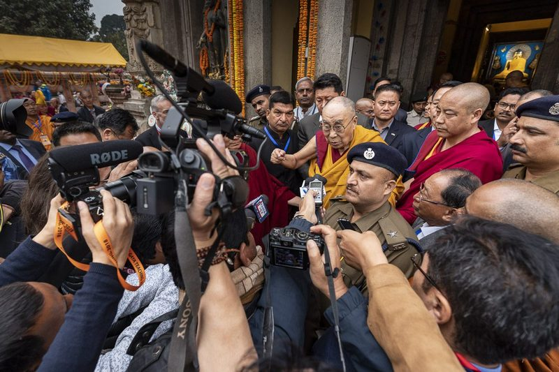 His Holiness the Dalai Lama briefly answering questions from members of the press during his pilgrimage to the Mahabodhi Temple in Bodhgaya, Bihar, India on December 17, 2018. Photo by Tenzin Choejor