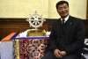 President Dr Lobsang Sangay with the Thank You India Souvenir – A Dharmachakra representing the wheel of Universal Truth, at the press conference at Press Club of India on January 18, 2018. Photo: CTA/DIIR/Tenzin Phende