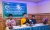 AITSAM organising committee Chairman President  Lharong, Vice President Rinchen Wangyal, Audit Rangdrol holding a press conference at the Hotel Tibet in Dharamshala, India, on July 18, 2018. Photo: TPI/Tenzin Choewang