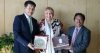 President Dr Lobsang Sangay and Ngodup Dorjee Representative of the Tibet Bureau in Geneva presenting Thank You India souvenirs to Claudia Roth, Vice President of the German Parliament in Berlin, Germany, May 14, 2018. Photo: Sikyong's Office