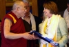 A delegation of US House of Representatives led by speaker Nancy Pelosi with His Holiness the Dalai Lama at main Tibetan temple in Dharamshala, India, March 21, 2008. Photo: TPI/Yeshe Choesang