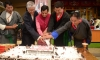 Chief guest Kishan Kapoor, Kargyu Dhondup, Dr Lobsang Sangay and Pema Jungney cut a birthday cake at main Tibetan temple in Dharamshala, India, on July 6, 2019. Photo: TPI/Yangchen Dolma