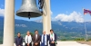 Representative from the Tibet Bureau, Geneva Chhimey Rigzen, Roberto Pintor, President Dr Sangay, Regent Sen Alberto Robol, Mayor Francesco Ualduga, at the Bell of Peace in Rovereto City, South Tyrol, Italy, on July 12, 2019. Photo: Office of the Sikyong